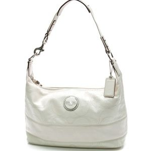 Coach Ivory Patent Leather Signature Stripe Hobo